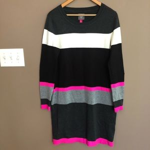 Vince Camuto Color Block Crew Neck Sweater Dress M